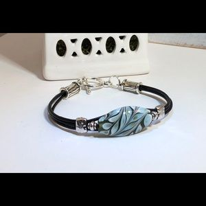 Jewelry - Leather and Lampwork bracelet